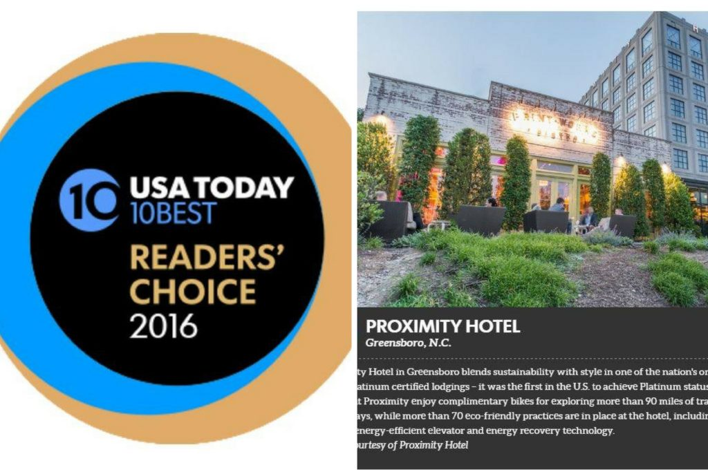 Proximity Hotel named one of the top 10 best eco-friendly hotels on USA Today 10Best Readers' Choice 2016