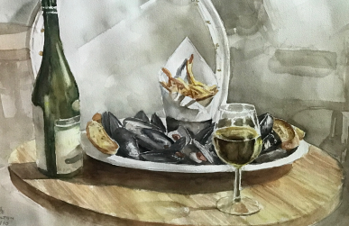 mussels wine music